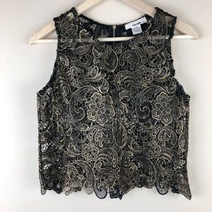 =ANTHROPOLOGIE=FLORAL LACE EMBROIDERY CROP TOP S